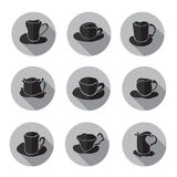 Coffee cups icons set Royalty Free Stock Images