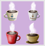 Coffee cups illustration. Illustration: cups of coffee, tea, cocoa, cappuccino Stock Photos