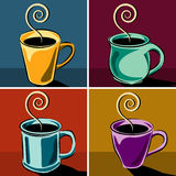 Coffee cups illustrations. Set of four coffee cup backgrounds, available in vector format Royalty Free Stock Photos