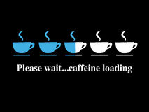 Coffee cups. An image of a screen with caffeine loading...please wait Stock Photography