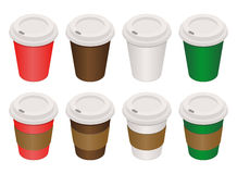 Coffee cups isometric. Coffee cup. Coffee isolated on white background. Coffee with paper holder. Colour cups of coffee isometric style. Vector illustration of a Vector Illustration