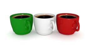 Coffee cups, Italian flag, 3d illustration Royalty Free Stock Image