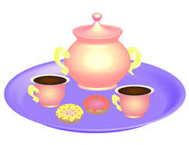 Coffee cups with kettle on magenta plate Royalty Free Stock Photography