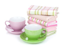 Coffee cups and kitchen towels Royalty Free Stock Images