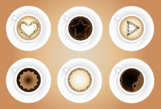 Coffee cups. Latte art Royalty Free Stock Photo