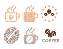 Coffee cups and logo vector composition with coffee beans Royalty Free Stock Photography