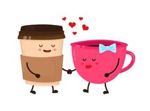 Coffee cups love flirt vector flat style Royalty Free Stock Images