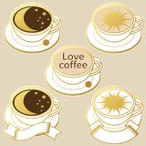 Coffee cups with moon and sun. Vector illustration. Set of vector han drawn coffee cups Stock Image