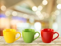 Coffee Cups. Mug Coffee Three Objects Isolated White Blue Stock Photography