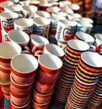 Coffee cups,mugs of different colors and designs royalty free stock photo