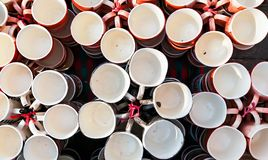 Coffee cups,mugs of different colors and designs royalty free stock photography