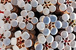 Coffee cups,mugs of different colors and designs stock photos