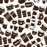 Coffee cups and mugs sizes variations icons seamless pattern eps10 Royalty Free Stock Photography