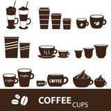 Coffee cups and mugs sizes variations icons set eps10 Royalty Free Stock Image