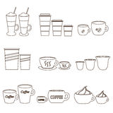 Coffee cups and mugs sizes variations outline icons set eps10 Stock Image