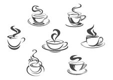 Coffee cups or mugs steam vector icons set Stock Photo