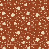 Coffee cups and names with bens, Seamless background pattern Stock Photo