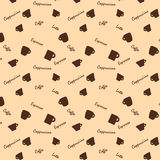 Coffee cups and names Seamless background pattern Royalty Free Stock Image