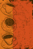 Coffee cups. Over an abstract background vector illustration