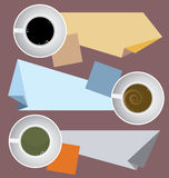 Coffee Cups With Paper Notes Stock Photography
