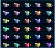Coffee cups. Pattern with colorful tea or coffee cups royalty free illustration