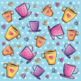 Coffee cups pattern. Watercolor coffee cups background pattern Stock Photos