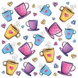 Coffee cups pattern Royalty Free Stock Image