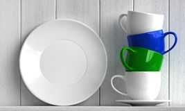 Coffee cups and plate. 3d render of coffee cups and plate on white wooden background royalty free illustration