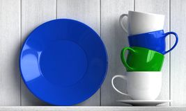 Coffee cups and plate. 3d render of coffee cups and plate on white wooden background vector illustration