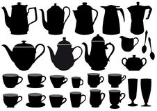 Coffee cups and pots,  Royalty Free Stock Photography