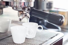 Coffee cups prepare for espresso shot Royalty Free Stock Images