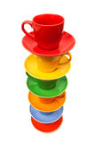 Coffee cups and saucers Stock Photos