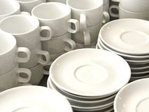 Coffee cups and saucers Royalty Free Stock Photos