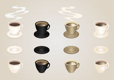 Coffee cups and saucers collection Royalty Free Stock Photos