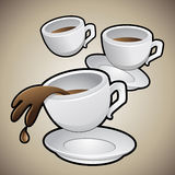 Coffee Cups with Saucers. Vector Illustration of Coffee Cups with Saucers on a brown background Vector Illustration