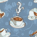 Coffee cups seamless pattern Stock Images