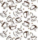Coffee cups seamless pattern. vintage style, flat design. isolated brown cups and coffee beans on white background. Stock Photo