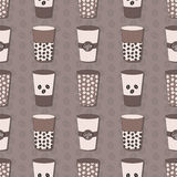 Coffee cups set. Coffee beans pattern Stock Images