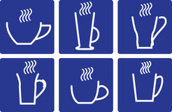 Coffee Cups - set  icons. Coffee Cups - set of isolated  icons  On blue background stock illustration