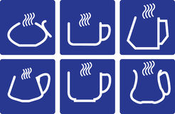 Coffee Cups - set icons. Coffee Cups - set of isolated icons On blue background royalty free illustration