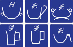 Coffee Cups - set icons. Coffee Cups - set of isolated icons On blue background vector illustration