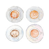 The coffee cups set with  latteart isolated on white background, watercolor illustration. The coffee cups set with  latteart isolated on white background Stock Illustration