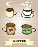 Coffee cups. Set of vector coffee illustrations №3 Royalty Free Stock Images