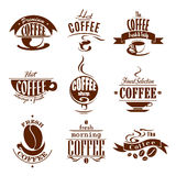 Coffee cups for shop or cafeteria vector icons Royalty Free Stock Image