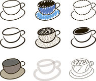 Coffee cups sketches. Some sketches on coffee-cup theme Stock Image