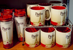 Coffee cups in starbucks coffee house in paris Royalty Free Stock Photography