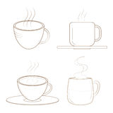 Coffee cups with steam. Sketch. Illustration of coffee cups with steam rising. Hot coffee is served. EPS file available Royalty Free Stock Photo