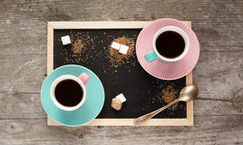 Coffee cups on a table Royalty Free Stock Photography