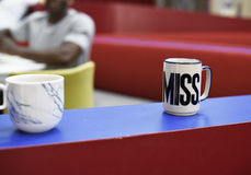 Coffee Cups on Table in Pantry Room. Adult Man Coffee Cups on Table in Pantry Room stock photos