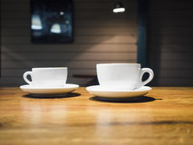 Coffee Cups on Table Shop cafe Restaurant Interior Stock Photos